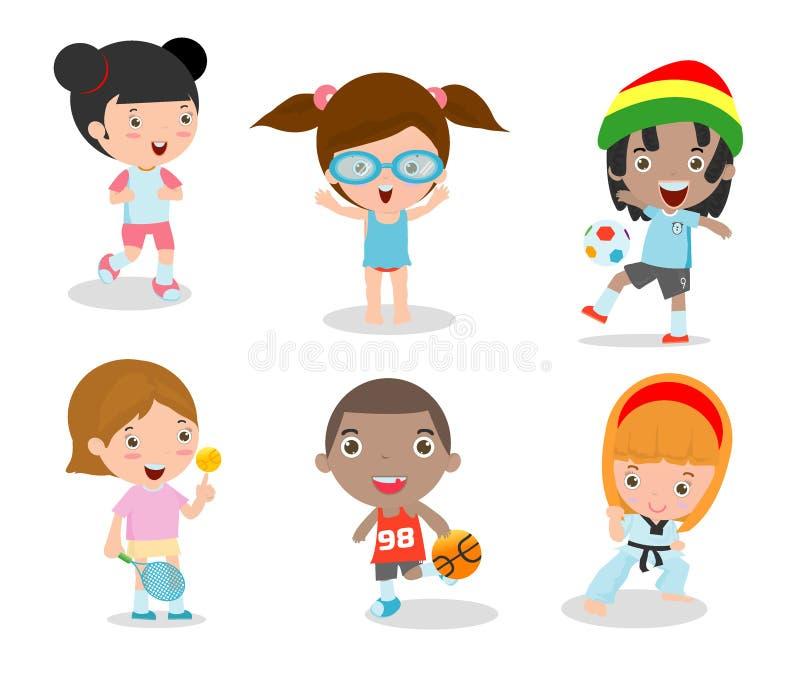 As crianças e o esporte, crianças que jogam vários esportes no fundo branco, desenhos animados caçoam esportes, corredor, futebol ilustração royalty free