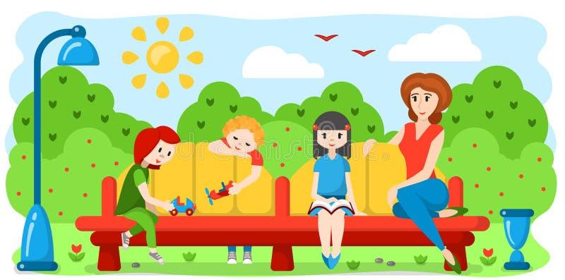 As crianças e uma mulher estão sentando-se em um banco ilustração stock