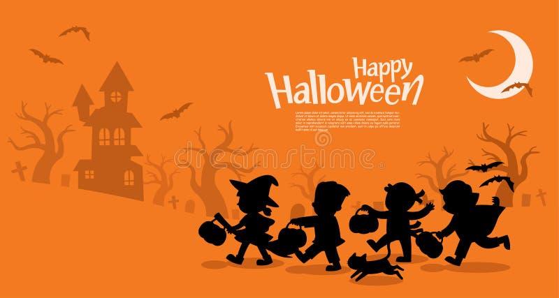 As crianças em Dia das Bruxas vão truque ou tratamento ilustração royalty free