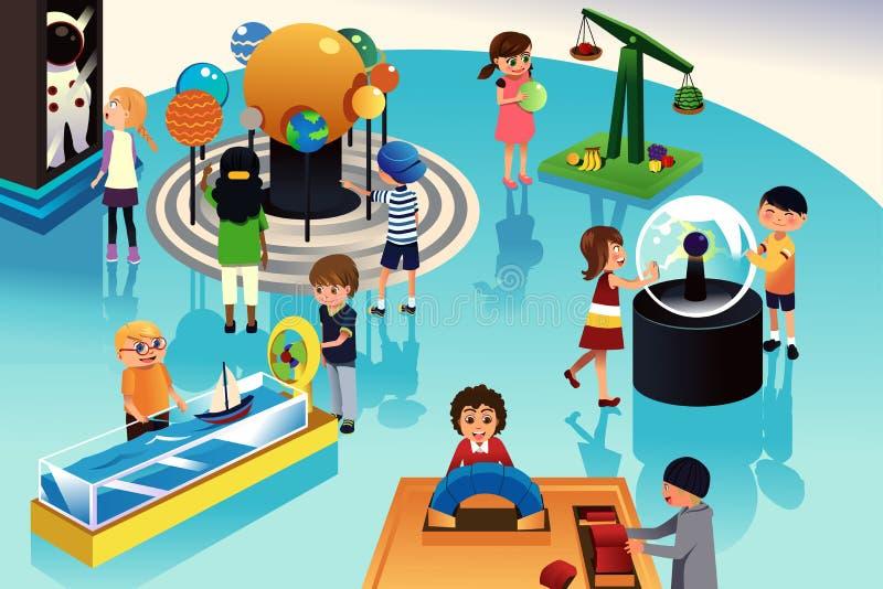 As crianças em uma viagem a uma ciência centram-se ilustração do vetor