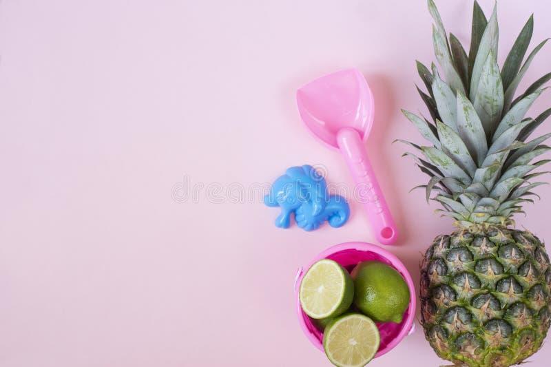 As crianças encalham brinquedos e abacaxi no fundo cor-de-rosa pastel Conceito do ver?o Configura??o lisa, vista superior, espa?o imagens de stock royalty free