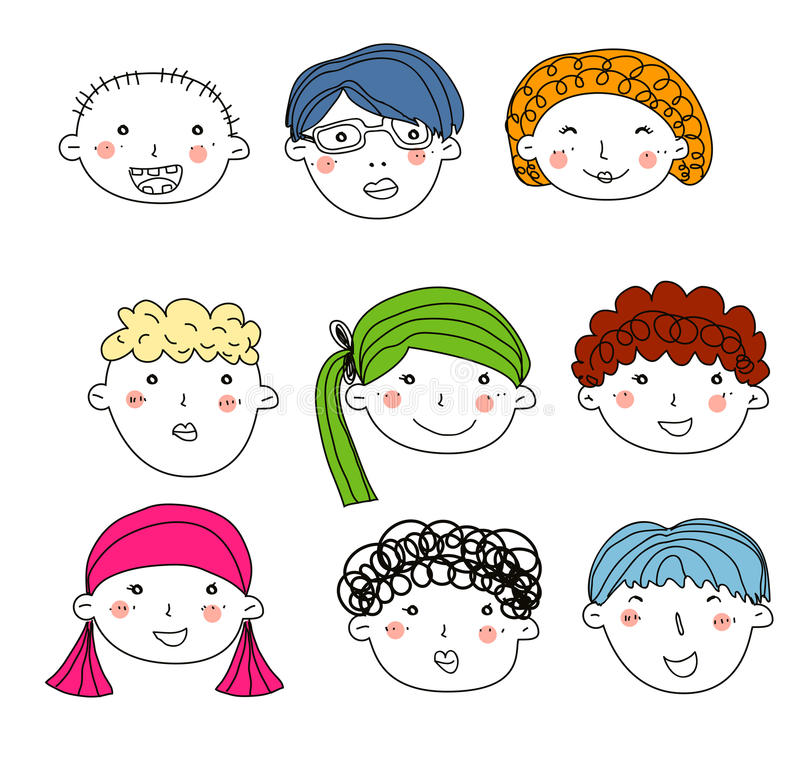 As crianças enfrentam esboço ajustado ilustração royalty free