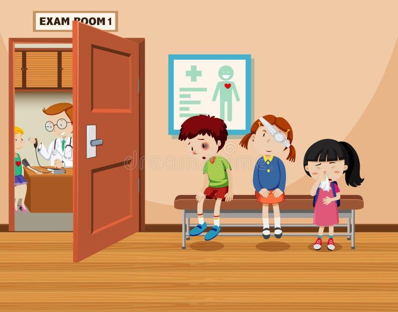 As crianças esperam na frente da sala do exame ilustração stock