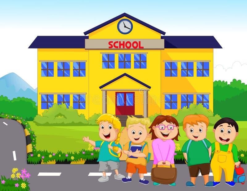 As crianças estão indo à escola ilustração do vetor