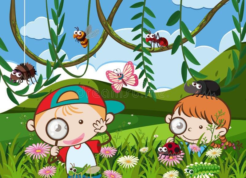 As crianças estão jogando no jardim ilustração stock