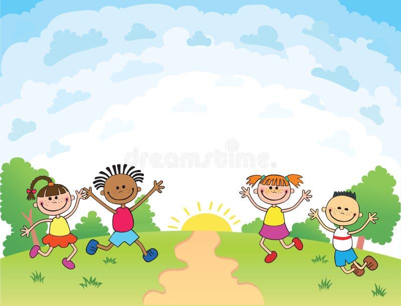 As crianças estão saltando na clareira, vetor engraçado dos desenhos animados do bunner, folheto de propaganda do molde Apronte p ilustração do vetor
