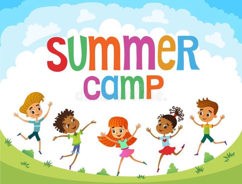 As crianças estão saltando na clareira, vetor engraçado dos desenhos animados do bunner, ilustrador ilustração do vetor