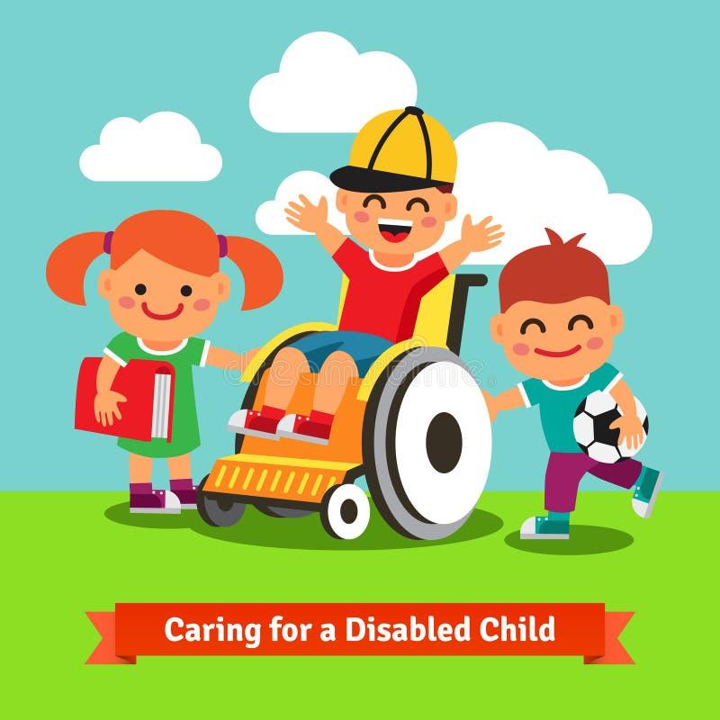 As crianças felizes estão andando com a criança na cadeira de rodas ilustração royalty free