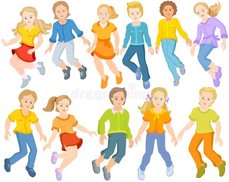 As crianças felizes estão saltando - grupo de crianças de salto fotos de stock royalty free