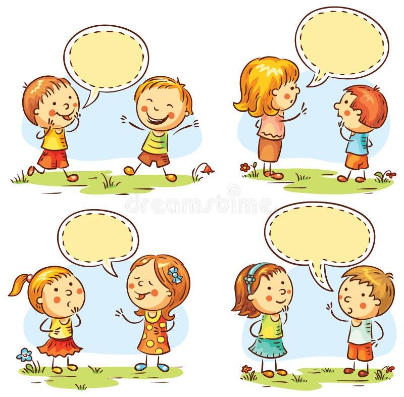 As crianças felizes que falam e que mostram as emoções diferentes, grupo de quatro cenas com discurso borbulham ilustração royalty free