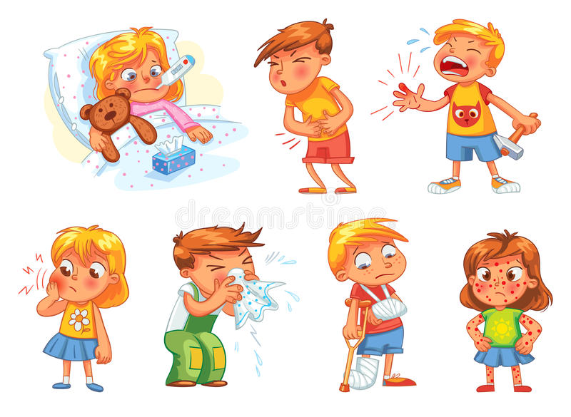 As crianças ficam doente Isolado no fundo branco ilustração royalty free