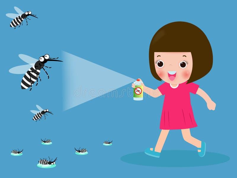 As crian?as lutam o mosquito pelo pulverizador conceito da febre de dengue da prote??o Ilustra??o do vetor, v?rus de Zika, mal?ri ilustração do vetor
