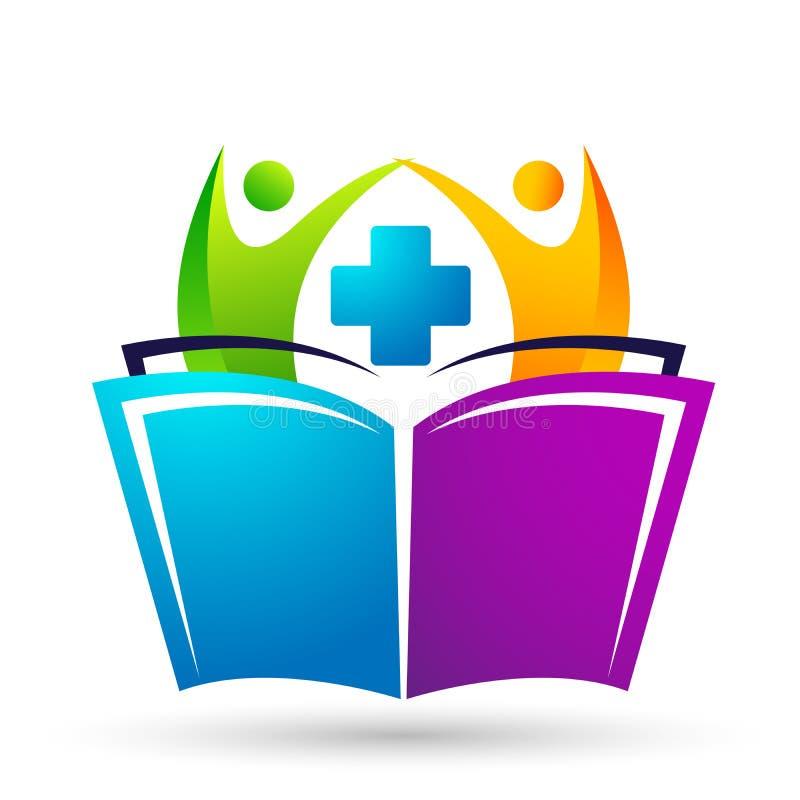 As crianças médicas das crianças do logotipo da saúde da educação do mundo do globo educam o ícone das crianças dos livros ilustração stock
