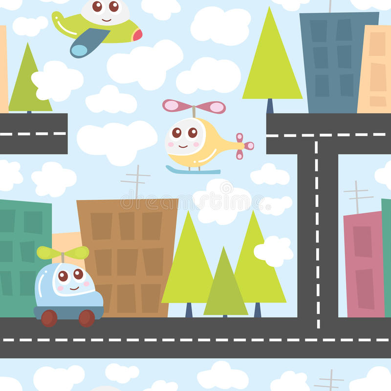 As crianças modelam com paisagem da cidade, o helicóptero bonito, o avião, e o carro Textura do bebê Ilustração do vetor ilustração stock