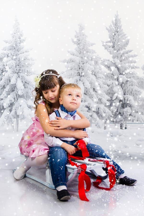 As crianças montam um pequeno trenó na madeira do inverno foto de stock