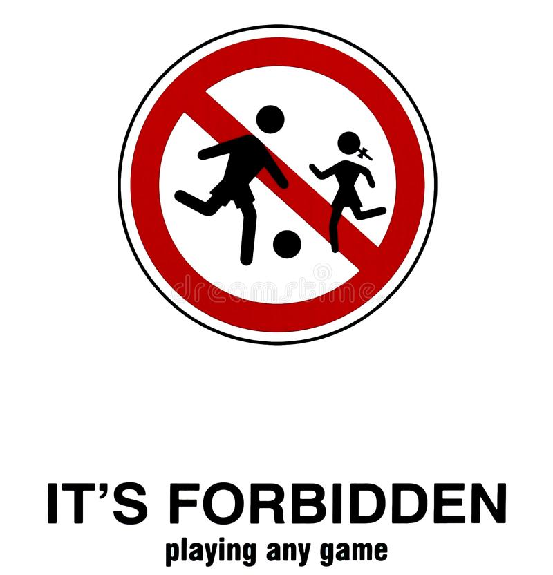As crianças não devem jogar nesta área Nenhum jogo das crianças reservou Sinal da proibição ilustração do vetor