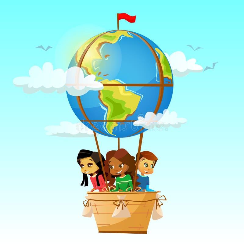 As crianças na ilustração do vetor do balão de ar quente do globo do curso dos desenhos animados aventuram-se o projeto da amizad ilustração royalty free