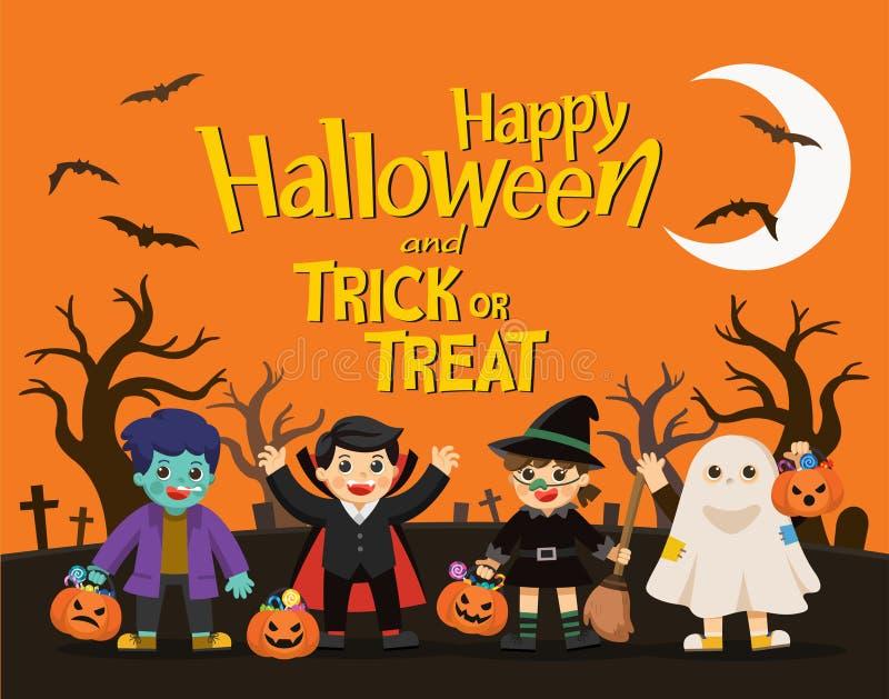 As crianças no vestido de Dia das Bruxas vão ao truque ou ao tratamento ilustração royalty free