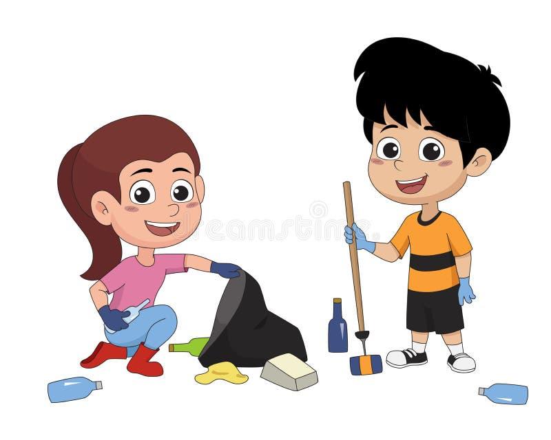 As crianças passam o tempo no fim de semana ao lixo ilustração stock