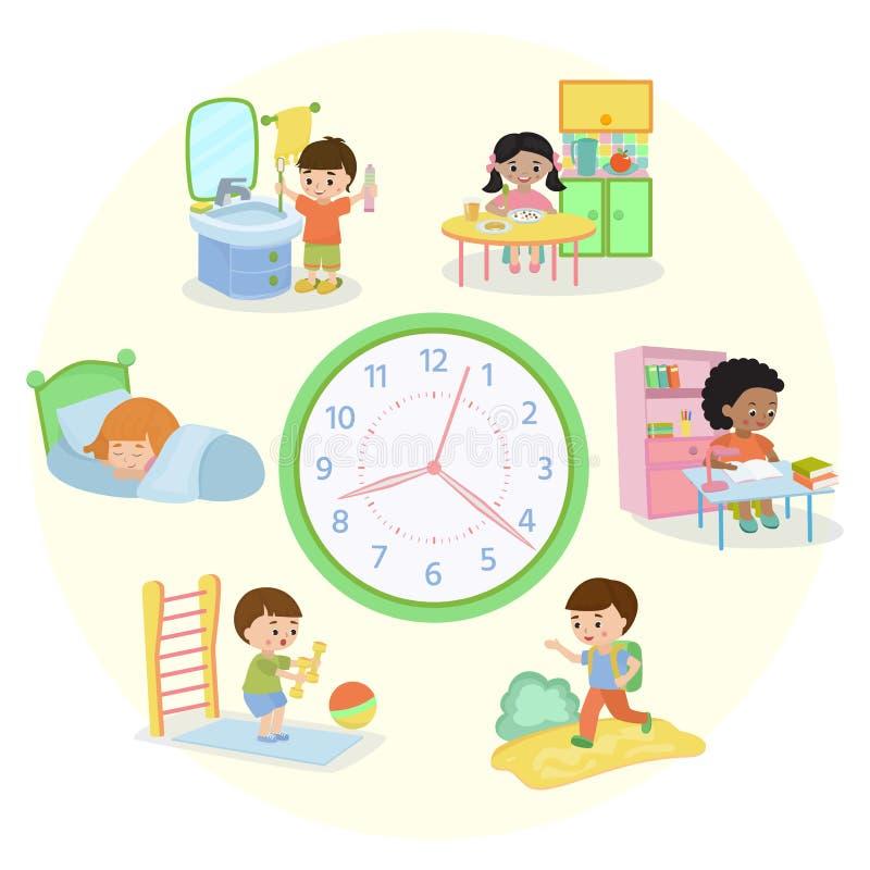As crianças programam a ilustração do vetor da bandeira Rotina di?ria Ajuste das atividades das crianças, criança que acorda, dor ilustração do vetor