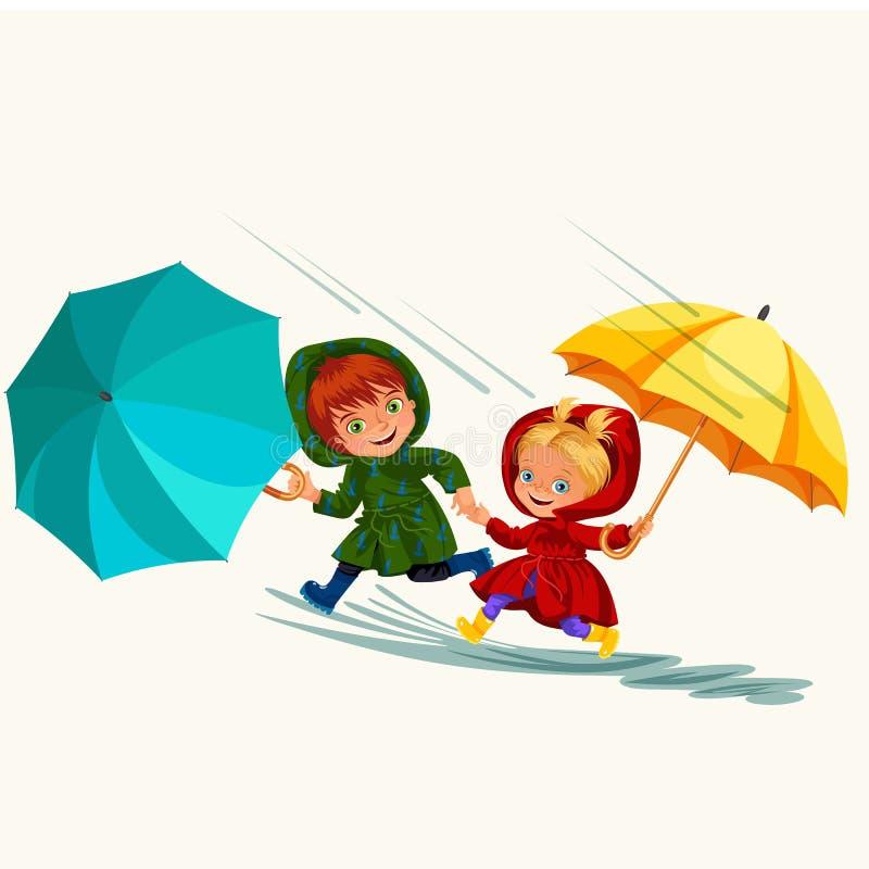 As crianças que andam sob chover o céu com um guarda-chuva, gotas da chuva estão gotejando em poças, chovendo o menino e a menina ilustração stock