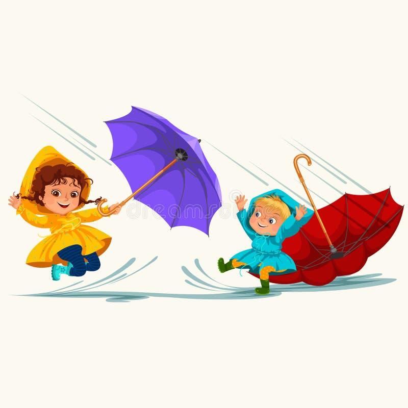 As crianças que andam sob chover o céu com um guarda-chuva, gotas da chuva estão gotejando em poças, chovendo o menino e a menina ilustração do vetor