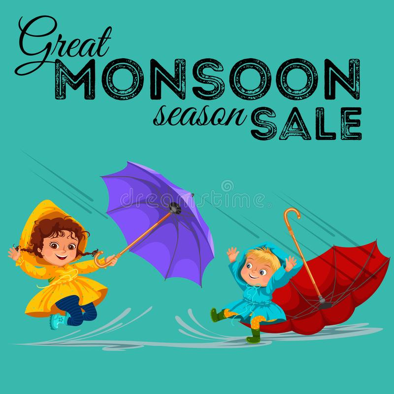 As crianças que andam sob chover o céu com um guarda-chuva, gotas da chuva estão gotejando em poças, chovendo o menino e a menina ilustração royalty free