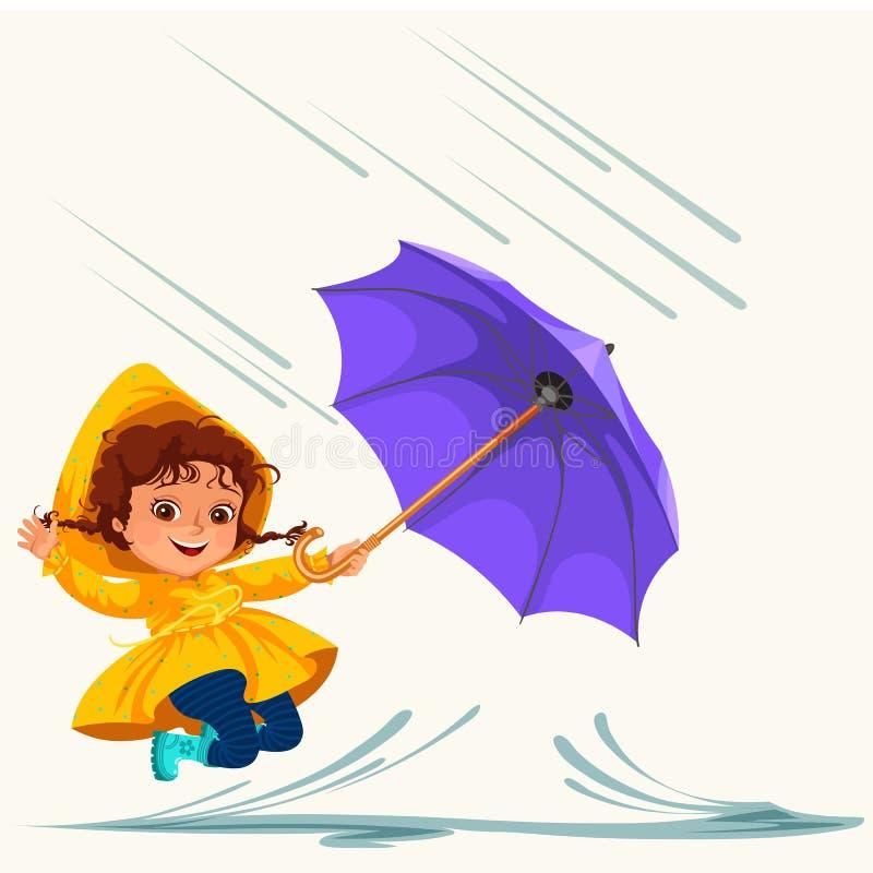 As crianças que andam sob chover o céu com um guarda-chuva, gotas da chuva estão gotejando em poças, chovendo o menino ou a menin ilustração stock