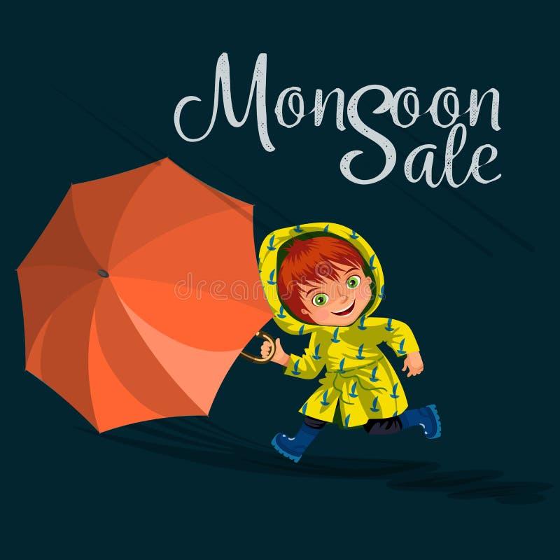 As crianças que andam sob chover o céu com um guarda-chuva, gotas da chuva estão gotejando em poças, chovendo o menino ou a menin ilustração royalty free