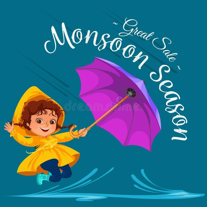 As crianças que andam sob chover o céu com um guarda-chuva, gotas da chuva estão gotejando em poças, chovendo o menino ou a menin ilustração do vetor