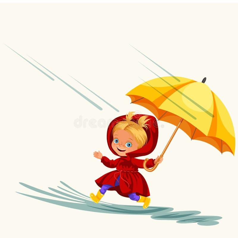 As crianças que andam sob chover o céu com um guarda-chuva, gotas da chuva estão gotejando nas poças, chovendo a menina da crianç ilustração stock