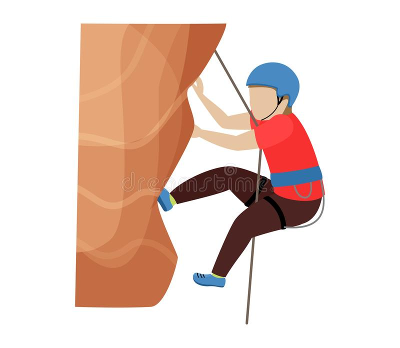 As crianças que escalam o caráter das crianças do montanhista do vetor escalam a parede da montanha da rocha ou a ilustração mont ilustração royalty free