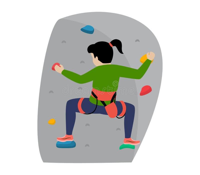 As crianças que escalam o caráter das crianças do montanhista do vetor escalam a parede da montanha da rocha ou a ilustração mont ilustração do vetor