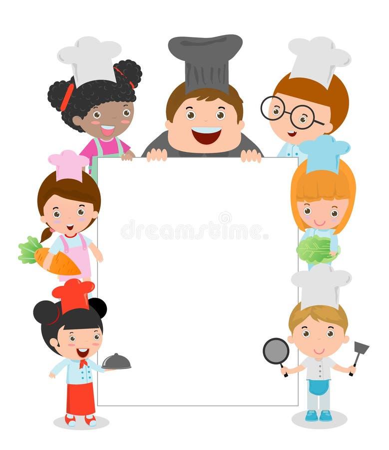 As crianças que guardam o cozimento cercando uma placa vazia, cozinheiro chefe das crianças que olha atrás do cartaz, caçoam o co ilustração royalty free