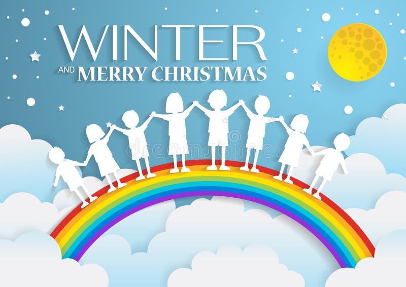 as crianças que jogam com o arco-íris no céu no inverno temperam, a arte de papel ilustração royalty free