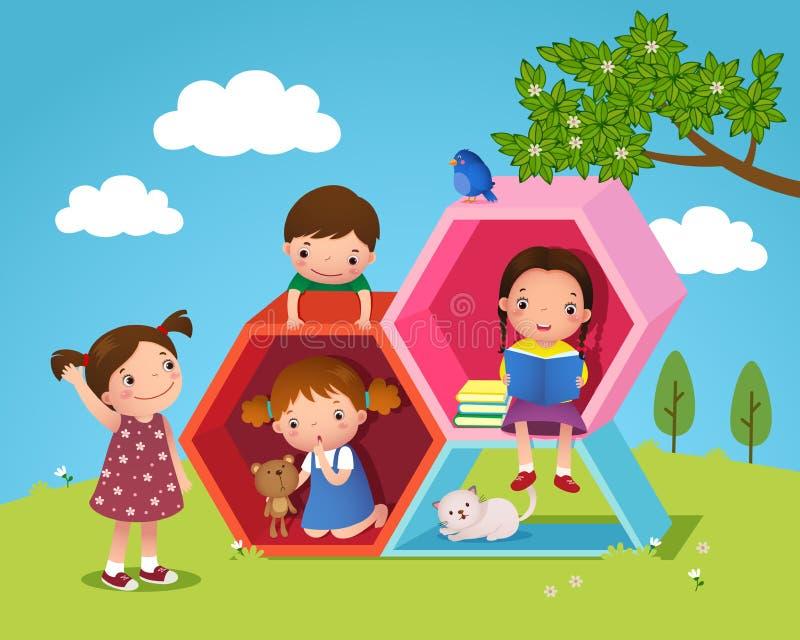 As crianças que jogam e que leem com hexágono deram forma na jarda ilustração royalty free