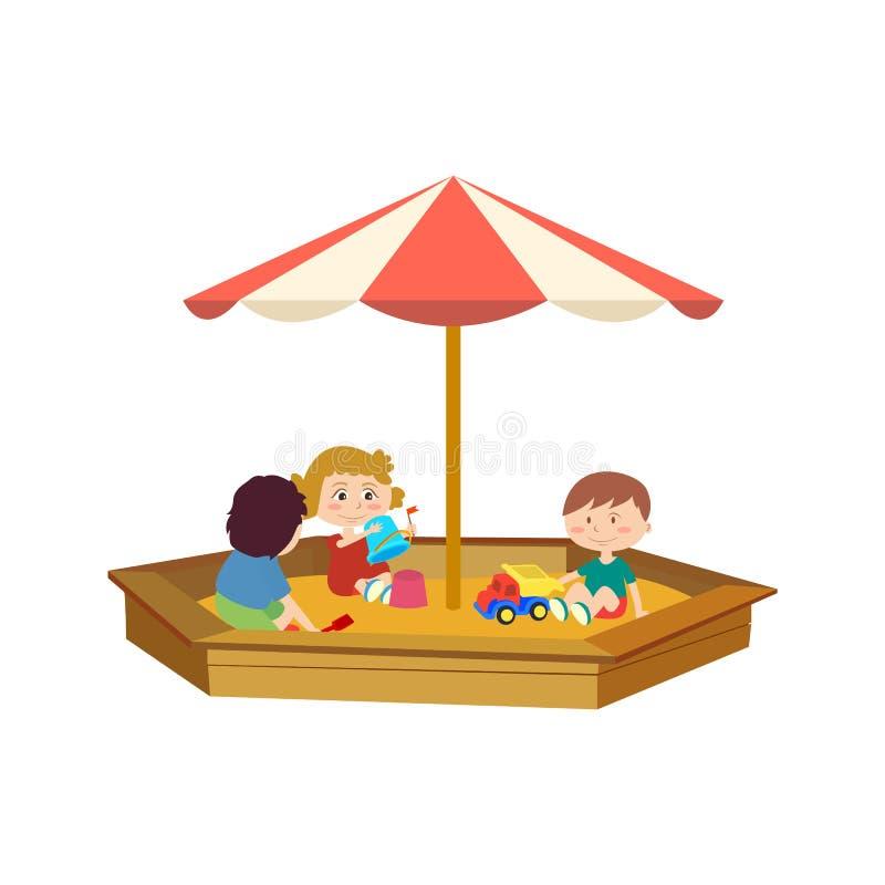 As crianças que jogam na caixa de areia no campo de jogos, comunicam-se ilustração do vetor