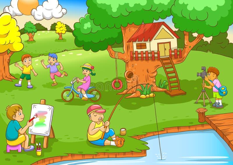 Crianças que jogam sob a casa na árvore ilustração stock