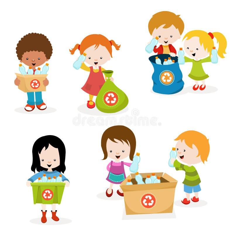 As crianças que recolhem garrafas para reciclam ilustração stock