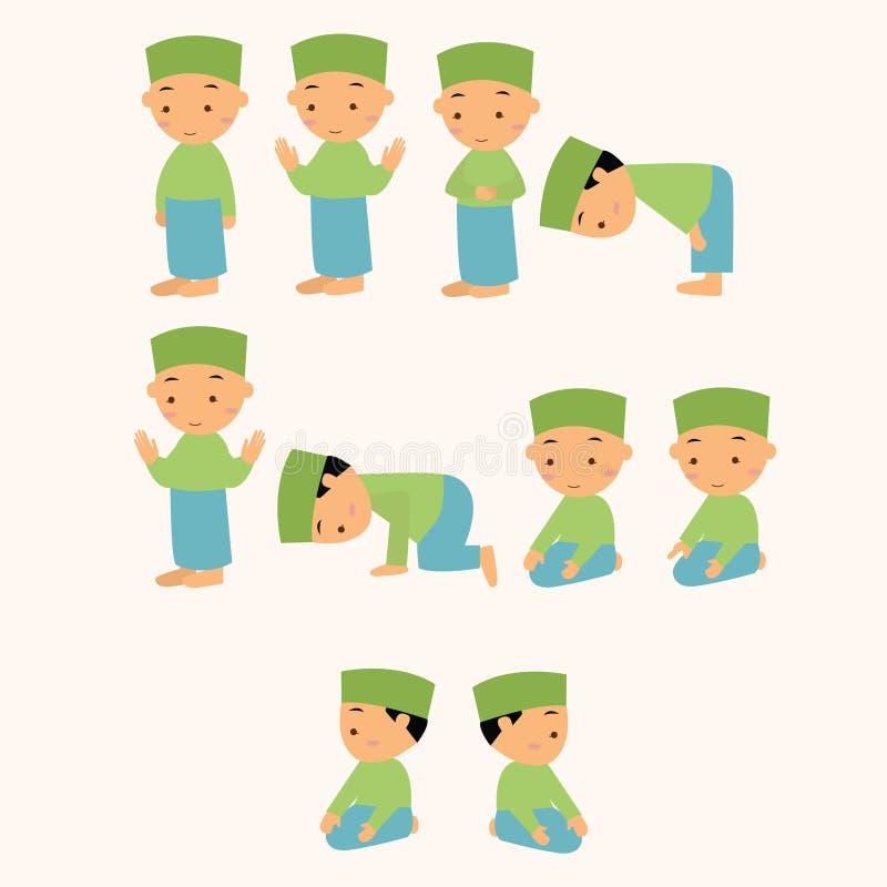 As crianças rezam rezar o movimento muçulmano do menino do Islã do shalat ilustração stock