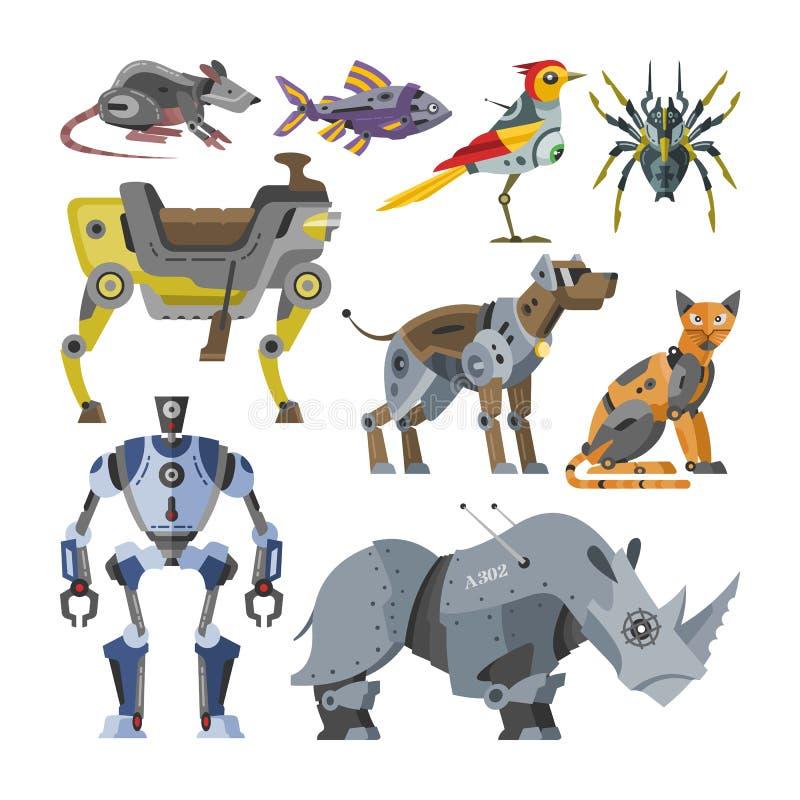 As crianças robóticos dos desenhos animados do vetor dos robôs brincam o cyborg animal do transformador do monstro da robótica do ilustração stock