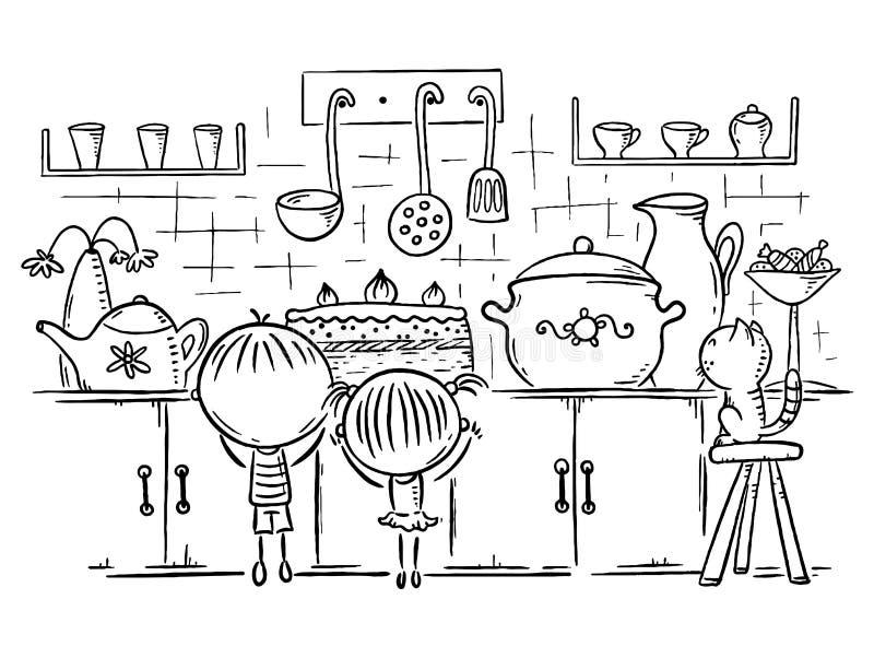 As crianças são atraídas pelo bolo na cozinha, desenho dos desenhos animados do esboço ilustração do vetor