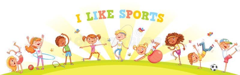 As crianças são contratadas em tipos diferentes dos esportes no fundo da natureza ilustração royalty free