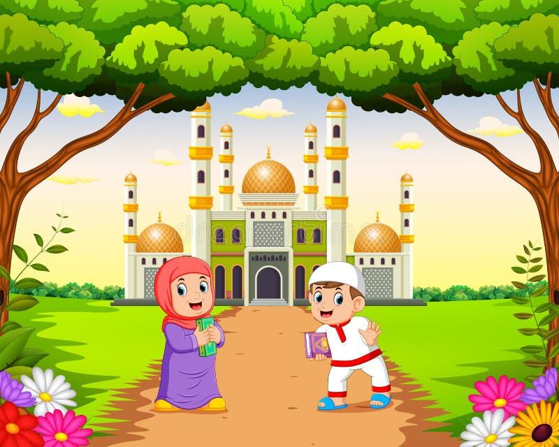as crianças são de passeio e de jogo perto da mesquita bonita ilustração stock