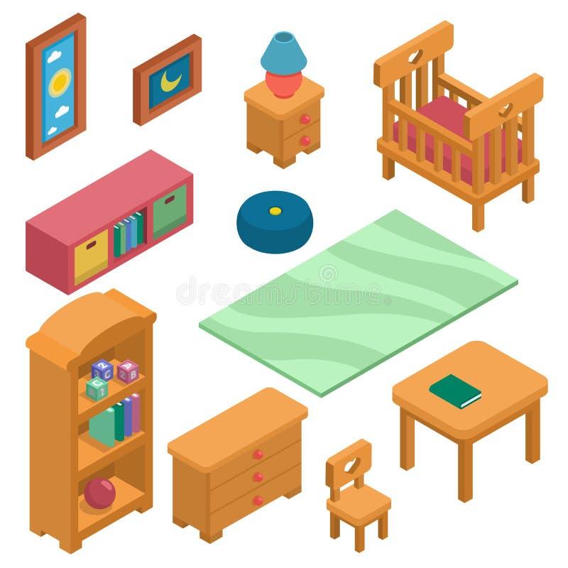 As crianças são mobília ajustaram-se isométrico Ilustração criada para o móbil, Web do vetor, decoração, produtos da cópia, aplic fotografia de stock