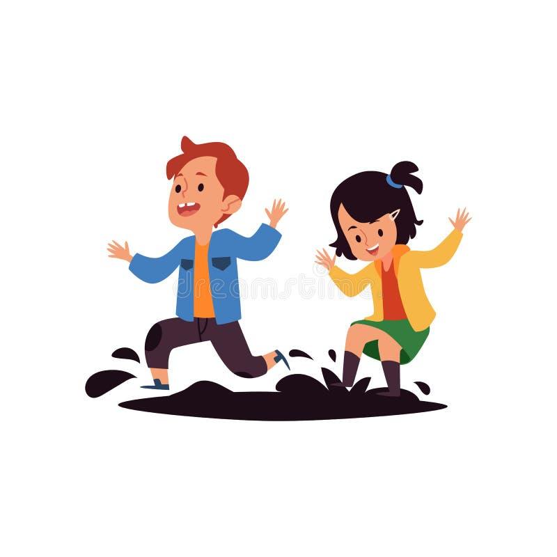 As crianças saltam nas poças a ilustração lisa do vetor do comportamento mau das crianças isolada ilustração do vetor