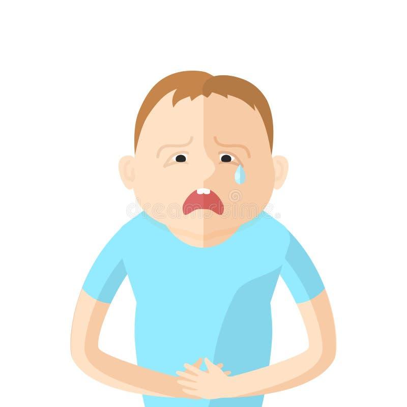 As crianças têm uma dor abdominal Caráter no estilo liso ilustração stock