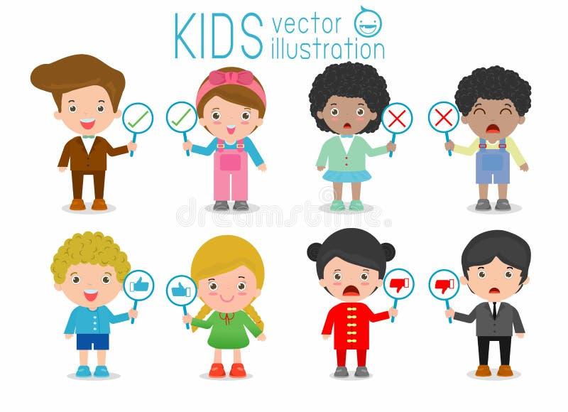 As crianças têm uma placa do sinal responder a correto ou incorreto, as crianças entregam o polegar acima com sinal verdadeiro e  ilustração stock