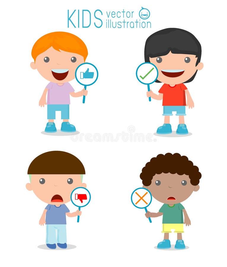 As crianças têm uma placa do sinal responder a correto ou a incorreto, o positivo e a reação negativa ilustração do vetor