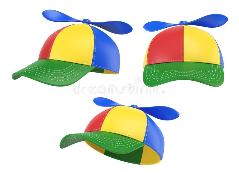 As crianças tampam com a hélice, chapéu colorido, várias vistas, rendição 3d ilustração do vetor